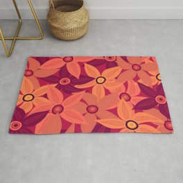 Large retro flowers - living coral Rug