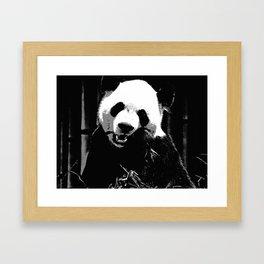 Cute Giant Panda Bear with tasty Bamboo Leaves Framed Art Print