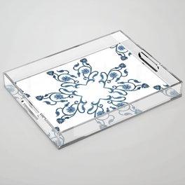 Blue Floral Heart Tile Acrylic Tray