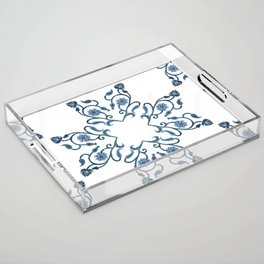 Blue Floral Heart Tile Acrylic Tray