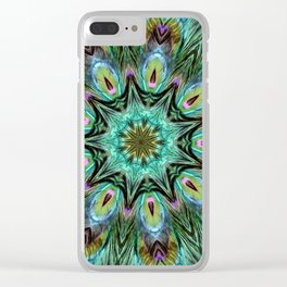 Colorful Peacock Feather Kaleidoscope Clear iPhone Case