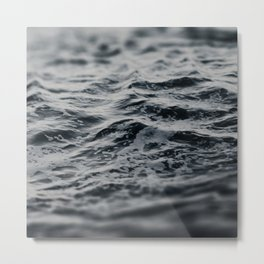 Ocean Magic Black and White Waves Metal Print