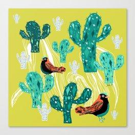 cactus with birds Canvas Print