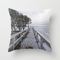 finland Throw Pillows featuring Frozen Finland by Chema G. Baena Art