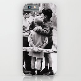 The Gangs of Paris, Little Boys with Morning Baguettes black and white photography - black and white photographs iPhone Case
