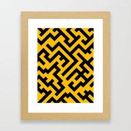 Black and Amber Orange Diagonal Labyrinth Framed Art Print