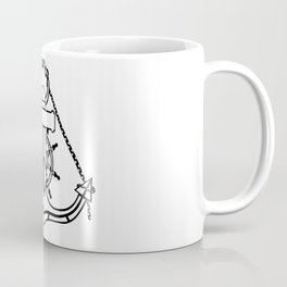 Anchor and Steering Helm [Outline] Coffee Mug
