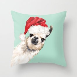 Christmas Sneaky Llama Throw Pillow