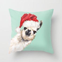 Christmas Sneaky Llama Throw Pillow