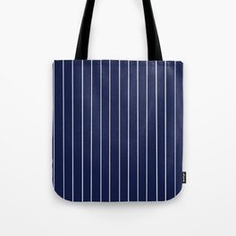 Navy Blue with White Pinstripes Tote Bag