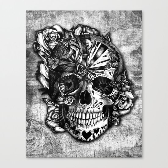 sugar and spice grunge candy skull canvas print by kristy patterson design society6. Black Bedroom Furniture Sets. Home Design Ideas