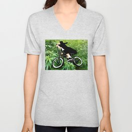 nun loves weed and bmx Unisex V-Neck