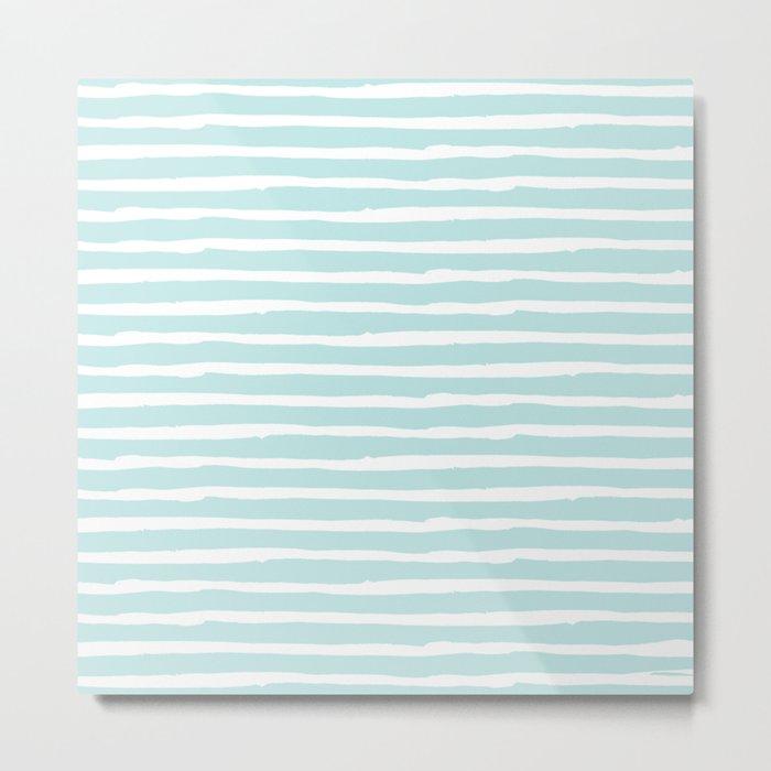 Elegant Stripes Succulent Blue and White Metal Print