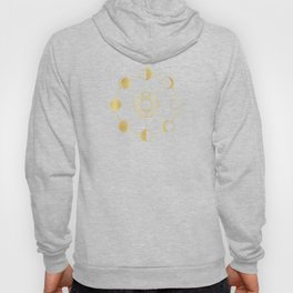 Gold Moon Phases Sun Stars Night Sky Navy Blue Hoody