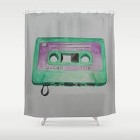 cassette Shower Curtains featuring Cassette by TrishRay