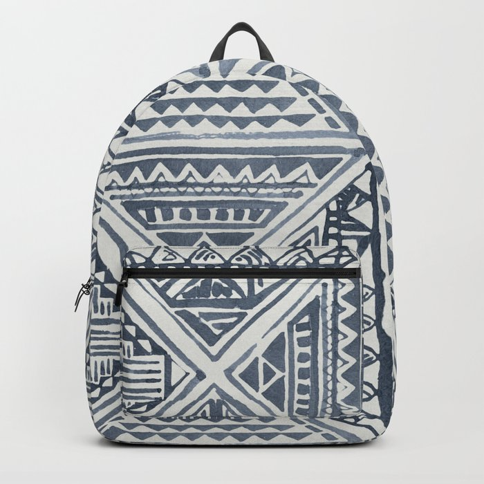 Simply Tribal Tile in Indigo Blue on Lunar Gray Backpack