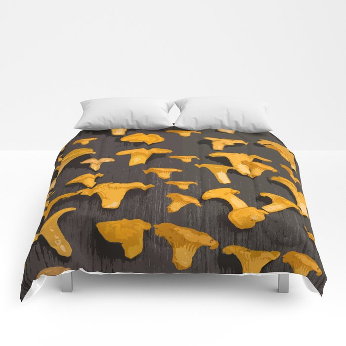 Chantterelles On A Dark Grey Background - Autumn Harvest - #Society6 #buyart Comforters