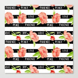 Fruit of the spirit - stripes with peonies Canvas Print