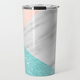 Real Italian Marble with Pink and Blue Travel Mug
