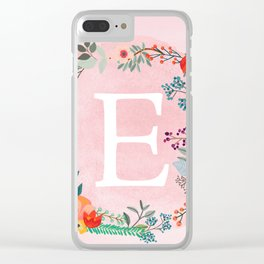 Flower Wreath with Personalized Monogram Initial Letter E on Pink Watercolor Paper Texture Artwork Clear iPhone Case