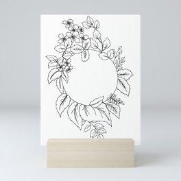 White Floral Circle Mini Art Print