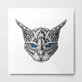 Ornate Blue Eyes Cat Metal Print