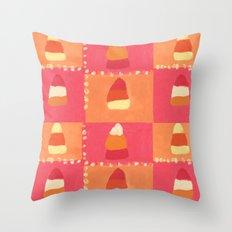 Pink and Orange Candy Corn Textile Print Throw Pillow