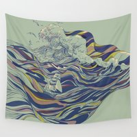 ocean Wall Tapestries featuring OCEAN AND LOVE by Huebucket