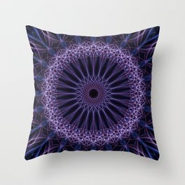 Mandala in violet and white tones Throw Pillow