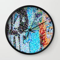 detroit Wall Clocks featuring DETROIT GRAFFITI by Brittany Gonte
