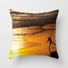 Modern Rio Dancing On the Sand Throw Pillow