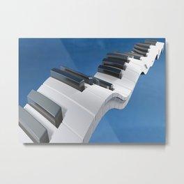 Keyboard of a piano waving on a blue sky - 3D rendering Metal Print