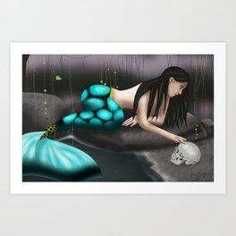 Mermaid Playing with Skull Art Print