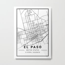 EL Paso Light City Map Metal Print