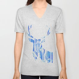 Geometric blue Stag Unisex V-Neck