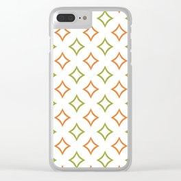 Custom Green and Orange Geometric Diamond Patterns Clear iPhone Case