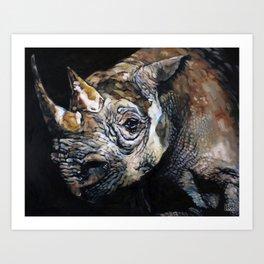 The Vanishing -Western Black Rhino, Now Extinct Art Print