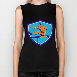 Track And Field Athlete Jumping Hurdle Biker Tank