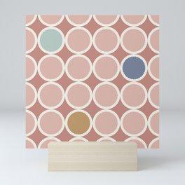 Scalloped Circles in Dusty Rose Mini Art Print