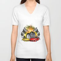 cars V-neck T-shirts featuring Cars by ismailburc