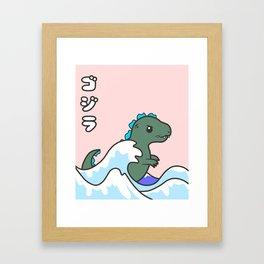 kawaii tiny godzilla kanagawa wave Framed Art Print