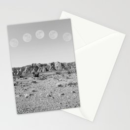Desert Moon Ridge B&W // Summer Lunar Landscape Teal Sky Red Rock Canyon Rock Climbing Photography Stationery Cards