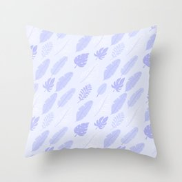 Modern lilac white baby blue monster leaves pattern Throw Pillow