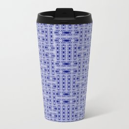 Geometric Blue Metal Travel Mug