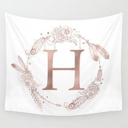 Letter H Rose Gold Pink Initial Monogram Wall Tapestry