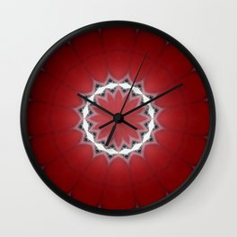 Red Flower with Black and White Accents Wall Clock