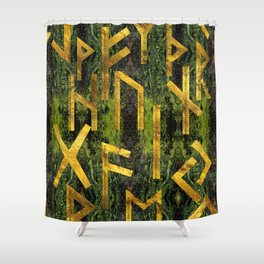 Vintage Gold Runic alphabet on tree bark Shower Curtain