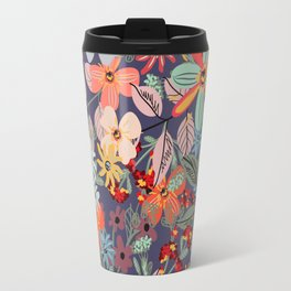 Rustic pattern with many colored flowers. Simple pretty style Travel Mug
