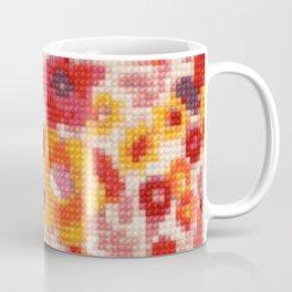 Cross Stitch Flowers Coffee Mug