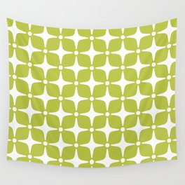 Mid Century Modern Star Pattern Chartreuse Green 2 Wall Tapestry